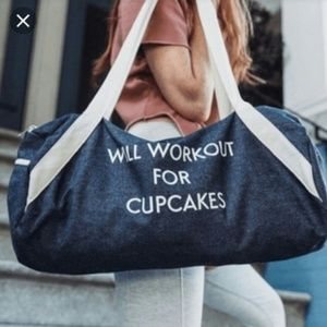 """WILL WORKOUT FOR CUPCAKES "" denim gym duffle bag"